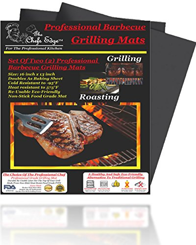 Grill Mat Best Professional Barbecue BBQ Grilling Mats Two 2 Non Stick Grate Liners Chefs Kitchen