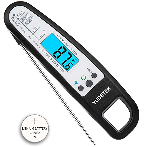 Digital Meat Thermometer Magnetic Instant Read Cooking Thermometer BBQ Thermometer with Foldable Probe and Backlight LCD Display for Kitchen Food Grill Smoker Oven Steak Baking Candy Milk – Black