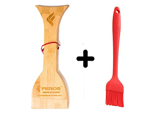 FEROS KIT – (2 items!) Safer Scraper Wood BBQ Wooden Grill Cleaner AND Silicone Basting Grill Barbecue Brush – Heat Resistant for Kitchen, Grilling, and Camping