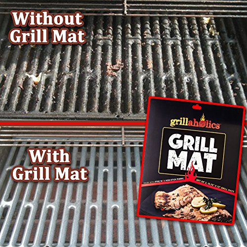 Grillaholics Grill Mat – Set of 3 – Nonstick BBQ Grilling Accessories – 15.75 x 13 Inch
