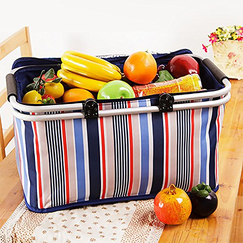 32L Large Family Size Picnic Insulated Bag, Oumers BBQ Meat Drinks Cooler Bag Ultra-size Folding Collapsible Basket for Holidays Parties Outdoor Travel , Picnic, Grill – Blue