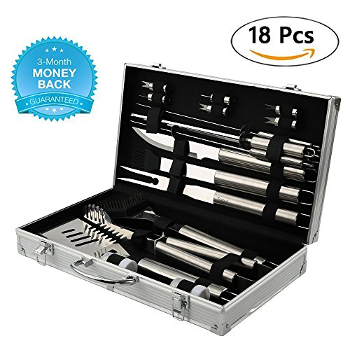 Tomus-UNI BBQ Grill Tools Set with 18 Barbecue Accessories – Stainless Steel Utensils with Portable Aluminium Carrying Case – Complete Outdoor Grilling Kit for Party, Birthday Gift for Man (Silver)