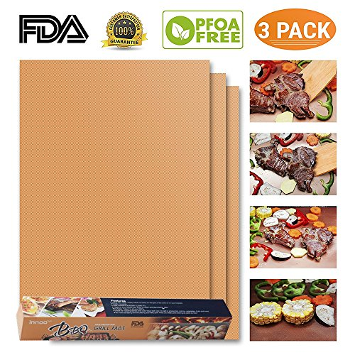BBQ Grill Mat – Set of 3 Non Stick Grill Mats – Essential Grilling Accessories and BBQ Tools (3, Gold)