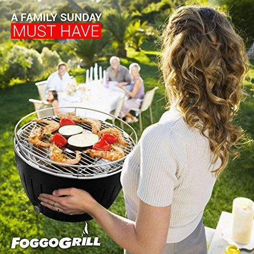 Foggo Grill Smokeless Indoor Grill | Portable Charcoal Electric BBQ w/Battery Operated Fan – Includes Travel Bag for Outdoor Barbeques, Camping, Picnic & the Beach
