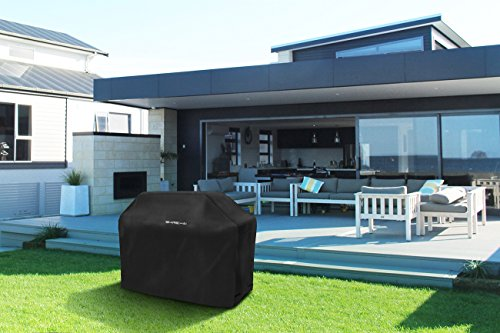 64-Inch BBQ Grill Cover, SHINE HAI Waterproof 600D Heavy Duty Gas Grill Cover for Weber Brinkmann, Char Broil, Holland and Jenn Air, Black