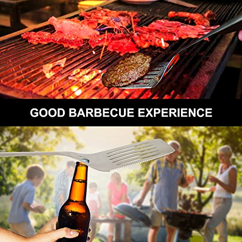 ICCKER BBQ Grill Tool Set – Heavy Duty Integrated Extra Thick Extension Stainless Steel Spatula, Basting Brush,Fork & Tongs,Giant,4
