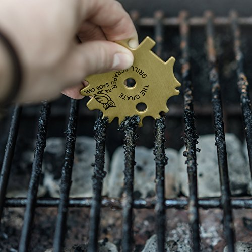 The Grate Grill Scraper Universal – Brass Barbeque Cleaner – Cleans Gas, Electric, Panini, Infrared, Ceramic, Park and Campground Grates – with Grill Pan Scraper and Griddle Scraper by The Sage Owl