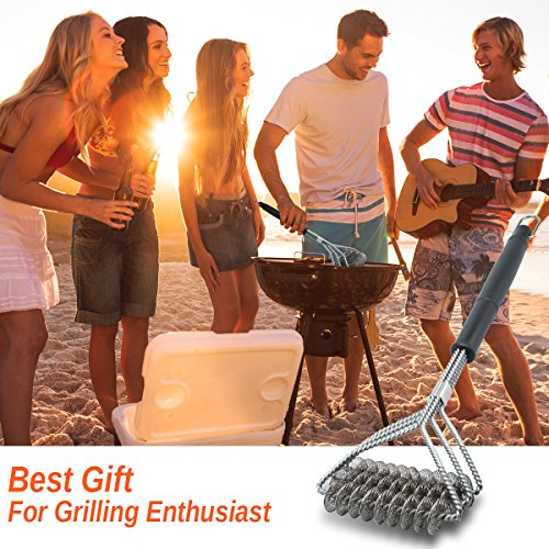 Easybrsh Grill Brush And Scraper Grill Brush Bristle Free – Grill Brsh 18″ For Porcelain Grates Outdoor Stainless Steel Grill Cleaner Tool – BBQ Safe Scraper Barbeque Cleaning Accessories Stainl