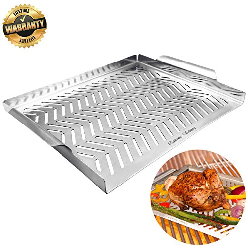 Extreme Salmon Grill Pan, Grill Topper Non-Stick Stainless Steel BBQ Grill Wok with Handles Professional Grill Cookware Grill Accessories for Barbecue Grills Outdoor Cooking