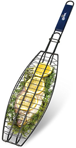 Corona BBQ Charcoal Grill Accessories as Fish Grilling Basket with Locking Grill Handle for Outdoor / Indoor BBQ Set Tools for Grilling Any Fish Up To 13.5