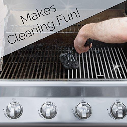 Heavy-Duty BBQ Grill Brush with 3 BONUS Heat-Resistant Non-Stick Grill Mats