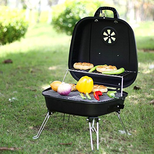 Portable Foldable Tabletop Charcoal BBQ Grill with four Foldable legs and a warming rack for camping ,hiking, picnic