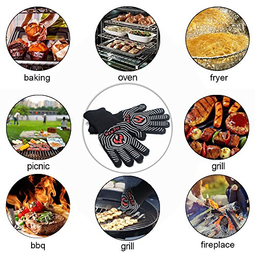ICCKER Grill Gloves – 932°F Extremely Heat Resistant BBQ Gloves, 14″ Grilling Cooking Gloves, Premium Insulated & Anti-Slip Aramid Oven Mitts, 1 Pair