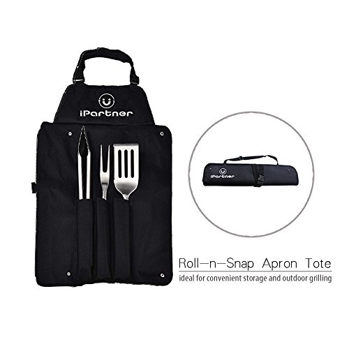 iPartner Grilling Barbecue Tool Set | 3-Piece Portable Utensil Kit Include BBQ Spatula Tongs & Fork w/Apron Tote Easy to Storage | Heavy duty Stainless Steel & Rosewood Handle | Great Gift Set for Men