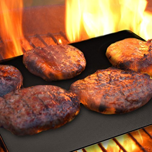 BBQ Grill Mat Set of 5 Nonstick – Reusable Grilling Mats #1 for Charcoal, Gas or Electric Grills, or Cooking & Baking – Easy to Clean – Dishwasher Safe – FDA Aproved – Lifetime Waranty by Grill Magic