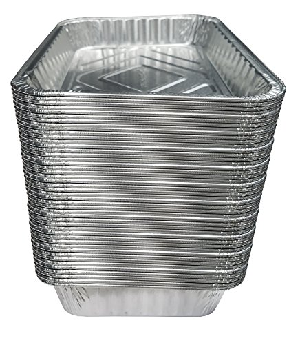 TYH Supplies Set of 50 Small Disposable 7-1/2-Inch by 5-inch BBQ Drip Pan Tray Aluminum Foil Tin liners for grease catch pans Replacement Liner Trays 7.5″ x 5″ Bulk Package