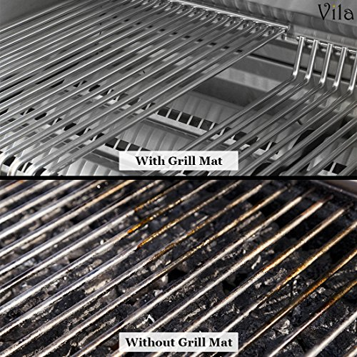 2 Reusable BBQ Grill Mats — High temperature resistant up to 500° Fahrenheit – Heavy-Duty, Easy to clean – Ideal for charcoal grills, electric ovens, microwaves and smokers – Great gift for BBQ Lover