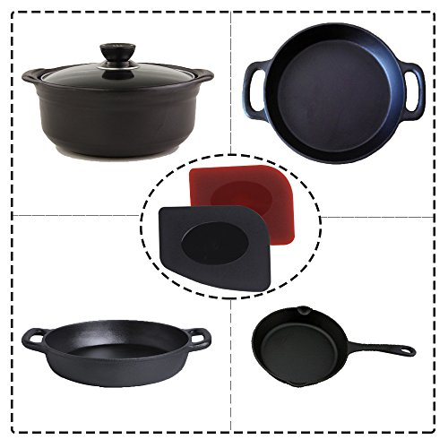 SUNHE Durable Pan Grill Scraper Set Tools and Silicone Hot Handle Holder for Cast Iron Skillets, Frying Pans & Griddles, 6-Pack