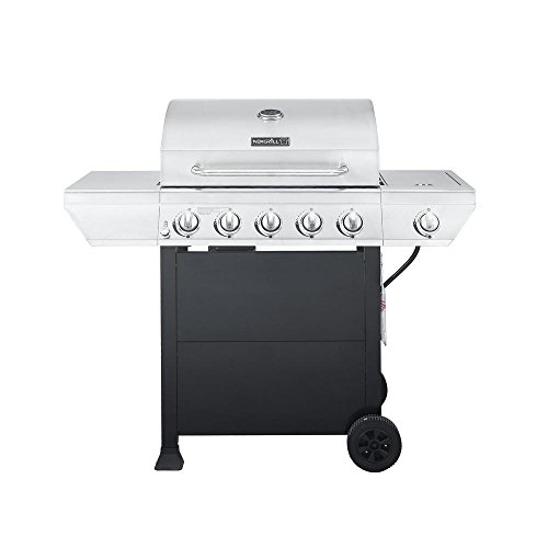 5-Burner Propane Gas Grill in Stainless Steel with Side Burner and Black Cabinet