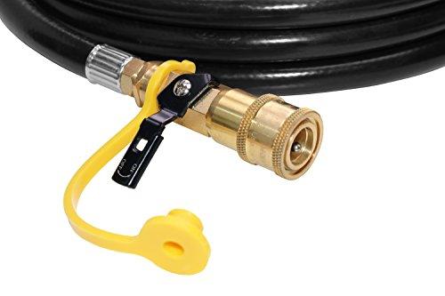 "DozyAnt 12 feet Low Pressure Propane Quick-Connect Hose – 1/4"" Safety Shutoff Valve & Male Full Flow Plug for RVs"