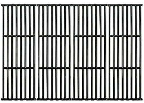 Music City Metals 66024 – Set of 4 – Gloss Cast Iron Cooking Grid Replacement for Gas Grills by Broil-Mate, Broil King, Huntington and Sterling