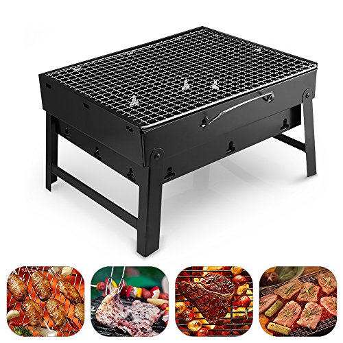 Barbecue Charcoal Grill Stainless Steel Folding Portable Lightweight BBQ Tools for Outdoor Cooking Camping Hiking Picnics Tailgating Backpacking (Small)