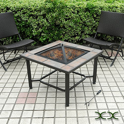 AXXONN 5 in 1, 30″ Square Tile Top Fire Pit, Grill, Cooler, Coffee Table and Side Table with Cover