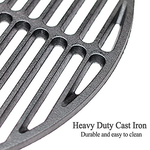 15″ Heavy Duty Cast Iron Grids Round Cooking Grate,BBQ Parts Round Grill Grate Accessories fit for Medium Big Green Egg Kamado Grill and Smoker Easy to Clean & Better Sear Marks