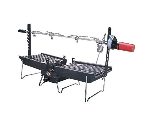 Mr. Flame Son of Hibachi Portable Vintage Cast Iron Charcoal Grill + Rotisserie Spit Combo   Self Cleaning/Self Extinguishing   The Ideal Portable Folding Grill (1980's Model)