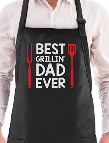 TeeStars Best Grillin' Dad Ever Funny Father's Day Gift for Dad BBQ Grilling Chef Apron One Size Black