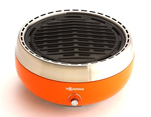Homping Grill – Ultimate Portable Charcoal BBQ Grill. Produces Less smoke. Combined with its electric fan for air/heat control. Tailgating grill (Orange)