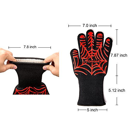 Acmind BBQ Grill Gloves, 932°F Heat Resistant Grilling Gloves, Barbecue Gloves for Smoker, 13″ Extremely Cooking Oven Mitts, 1 Pair, Red Silicone Insulated