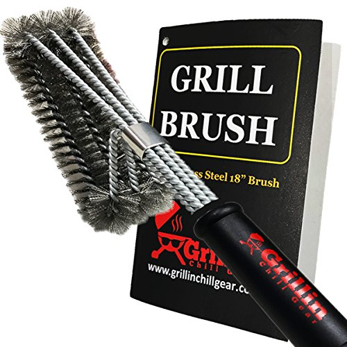 Grill & Chill BBQ Cleaner Brush – BEST QUALITY Stainless Steel Wire Bristles – 18″ Handle – Safe for Porcelain, Ceramic Cooking Grates – Fast Cleaning – Perfect Barbecue Accessories, Fathers Day Gift