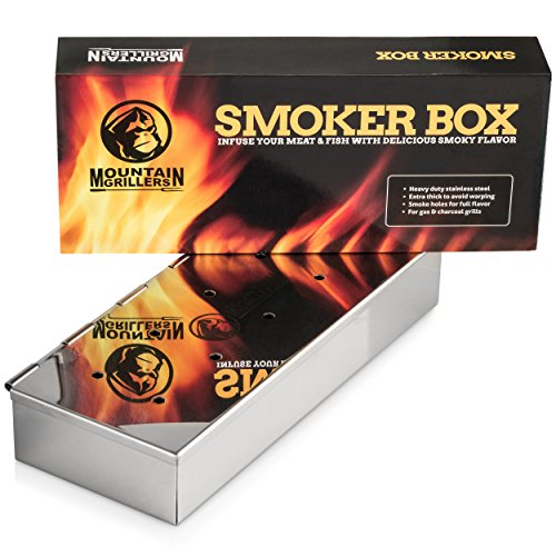 SMOKER BOX For Barbecues – Add Delicious Smoky BBQ Flavor to Your Grilled Meat – Smoke Wood Chips of Your Choice – Good for Gas Or Charcoal Grill – Won't Warp or Stain & Opens Easy with Hinged Lid