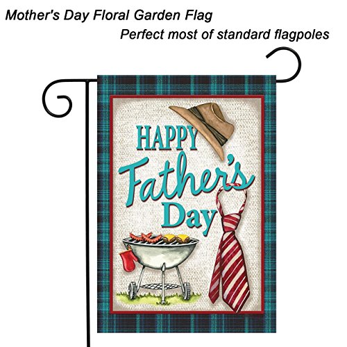 KissDate Double sided Happy Father's Day Garden Flag, Colorful Grille Hat and Tie Printer Banner, Perfect Garden Hanging Decoration (12.5″ x 18″)