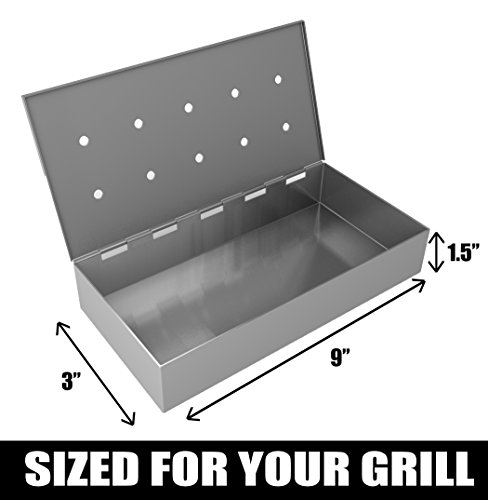 Barbecue Grill Brush + Smoker Box for BBQ Wood Chips – 25% THICKER STAINLESS STEEL WON'T WARP – Charcoal & Gas Meat Smoking with Hinged Lid – Best Grilling Accessories & Utensils by Cave Tools