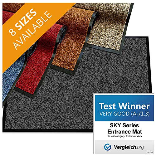 casa pura Premium Entry Mat | Entrance Mat Comparison Test Score: Very Good (A-/1.3) | Ideal as Front Door Mat or Entry Rug | Charcoal Gray – 24″ x 36″