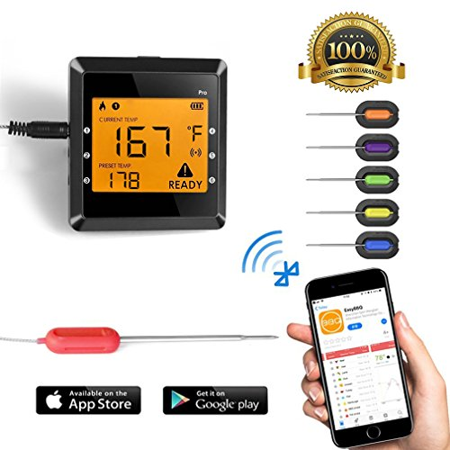 Digital Meat thermometer for Grilling , ICOCO Best Instant Read Oven Meat Thermometer with 6 Probes Ultra Fast Easy Electronic BBQ and Kitchen Food Thermometer for Cooking, Grill,Candy