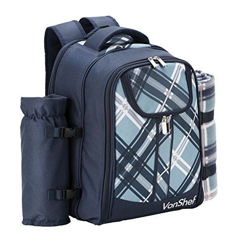 VonShef – 4 Person Blue Tartan Picnic Backpack Bag with Cooler Compartment, Detachable Bottle/Wine Holder, Fleece Blanket, Flatware and Plates