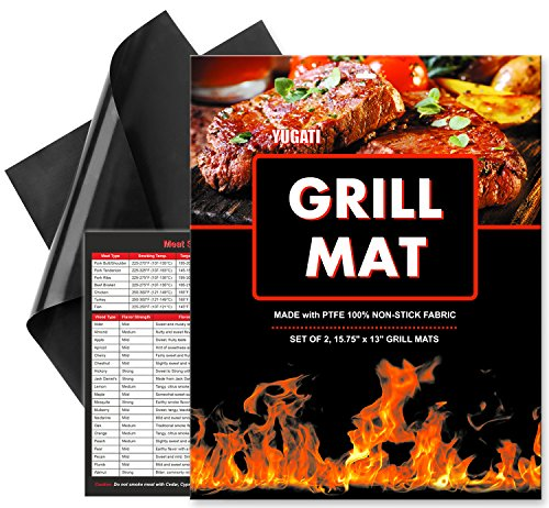 Grill Mat Premium by YUGATI -Set of 2 Heavy Duty Non-Stik BBQ Grilling & Baking Mats-15.75 x 13 Inch, FDA Approved, Dishwasher safe, Reusable + Meat Smoking Guide