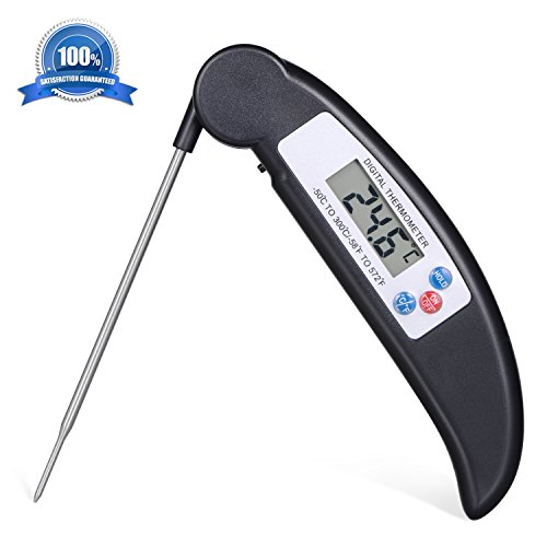 Atill Best Digital Thermometer with Long Probe for All Food, Cooking Meat, BBQ, Smoker, Kitchen, Turkey and Milk – Ultra Accurate Instant Read & LED Screen, One Year Warranty (Black)