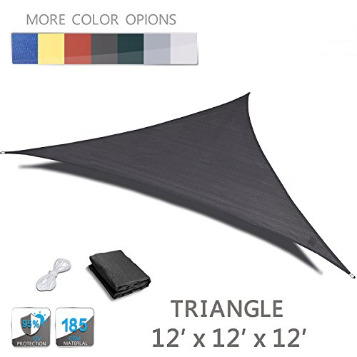 Love Story 12′ x 12′ x 12′ Triangle Charcoal UV Block Sun Shade Sail Perfect for Outdoor Patio Garden