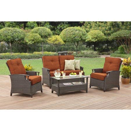 4 Piece Outdoor Conversation Set, Includes 1 Coffee Table, 2 Chat Chairs and 1 Loveseat, E-Coat and Powder-Coated, Rust-Resistant Steel Frames, UV Treated , Waterproof, Modern and Functional