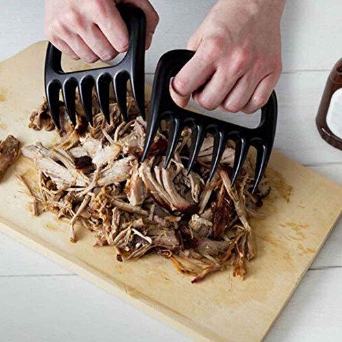 Tailbox Set of 2 Bear Claws BBQ Meat Handler Forks – Pulled Pork Shredder Claws for Carving & Shredding Meat (Black)