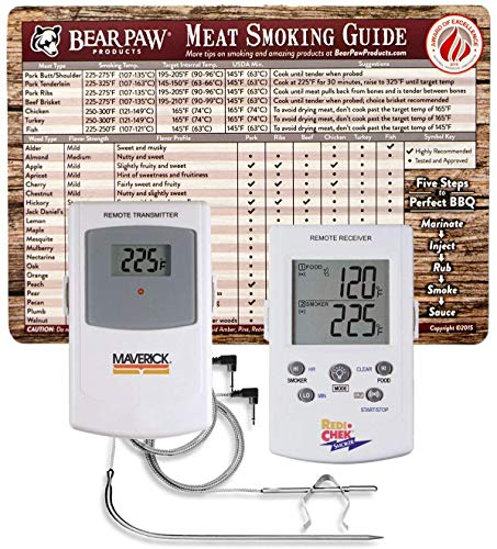 Maverick Bear Paw Products ET73 Wireless BBQ Meat Thermometer – White – Monitors Meat & Ambient Temperature