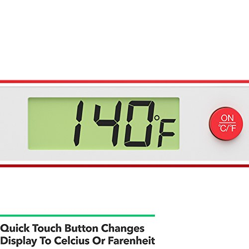 Vremi Meat Thermometer for Kitchen – Instant Read Digital Thermometer with 5.25 inch Stainless Steel Probe for Cooking BBQ Grill Smoker or Oven Food – Temperature Guide Probe Cover and Battery – Red