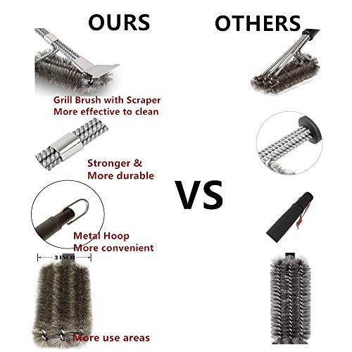 Safe/Clean Stainless Steel Grill Brush and Scraper , 18″ Best BBQ Grill Brush-Stainless Steel Woven Wire 3 in 1 Bristles Grill Cleaning Brush,for Grill Wizard Grate Cleaner (steel brush style)