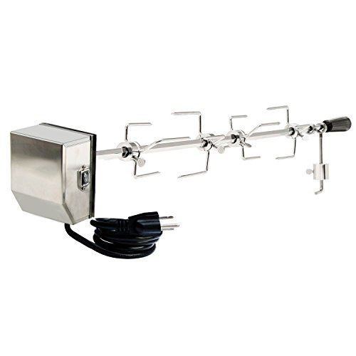 """onlyfire Universal Grill Replacement Rotisserie Kit – 45"""" & 53"""" X 1/2"""" Hexagon Spit Rod, 50 lb Stainless Steel Electric Motor"""