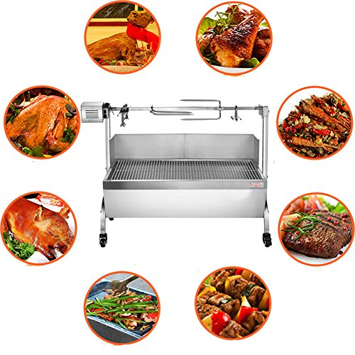 Ridgeyard Lamb Pig Goat Charcoal Barbeque Grill Roaster Spit Rotisserie Hog Roasting Machine with Wind Shield Stainless Steel 28W Motor 132lbs Capacity BBQ