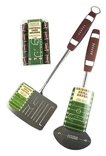 Charcoal Companion CC6495 Football Barbecue Grill Brush, Grill Spatula with Bottle Opener & Corn Holders Set – BBQ Tools